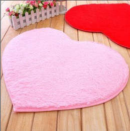 Wholesale Heart Rugs - Wholesale-4.5cm thicken 40*50cm Japanese Style modern Heart Shape shaggy Carpet   rug   doormat carpet for living room bedroom rugs mat