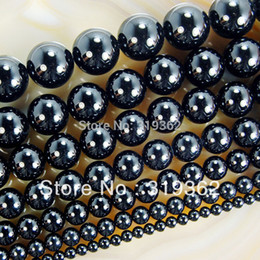 "Wholesale 14mm Agate Beads - Wholesale-15.5"" Smooth Round Black Agate Onyx Beads 4 6 8 10 12 14mm Pick Siz Free Shipping-F00061"