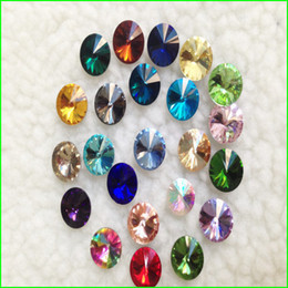 Wholesale 12mm Rivoli Crystal Wholesale - Wholesale-100pcs lot MIXED COLOR Rivoli Crystal 8MM 10MM 12MM 14mm 16mm 18mm Round Fancy Stone Crystal Rivoli Beads