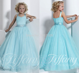 Wholesale Sweetheart Neckline Flower Girl Dresses - Wholesale-2015 New Arrival Sweetheart Neckline Cute Shoulder Straps Ball Gown Flower Girl Dresses Beading Organza Floor-Length Pageant