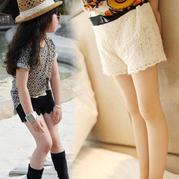 Wholesale Lace Black Short Leggings - Wholesale- New Hot Girls Lace shorts summer kids white leggings girls pants and top set stylish casual trousers for 5-13 Years old
