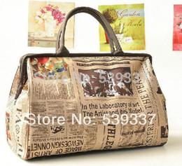 Wholesale Newspaper Print Bags - Wholesale-Free Shipping Newspaper Design Retro Vintage Style Womens Lady Handbag Tote Shoulder Bag Casual
