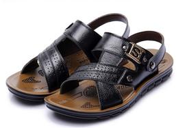 Wholesale Casual Rubber Slipper For Men - Wholesale-2015 hot sale 3 colors Mens Sandals Slippers cowhide sandals Casual men leather sandals for men