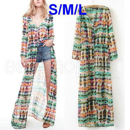 Wholesale Cardigans Maxi Long Length - Wholesale-PQ373 Summer Woman Ladies Prints Long Sleeve Bohemian Cardigan Maxi Ankle-length Dress Vintage Cover-up Keep Put Hot Sun S M L