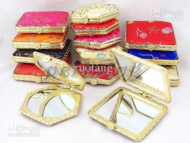 Gli specchi compatti della tasca piegante elegante favoriscono gli stili di colore della miscela / della miscela dello specchio di trucco parteggiato doppio cinese del damasco Trasporto libero