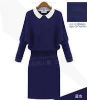 Wholesale Dress Pans - Wholesale-New 2015 women Spring Autumn Knitted Dress Winter Fashion Peter Pan Collar Long Sleeve Elegant Slim Hip Wool Dresses WJ1646