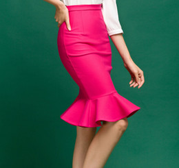 Wholesale Hot Pink Mermaid - Wholesale-2015 Fashion Woman Sexy Slim Stretch Bodycon Ruffle Pencil Trumpet Mermaid Fish Tail Skirt New Arrivals Black Hot Pink
