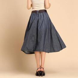 Canada Long Pleated Denim Skirts Supply, Long Pleated Denim Skirts ...