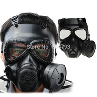 Wholesale Army Gas - Wholesale-1pc M04 Tactical Plastic Mask Resin Full Face Gas Masks With Fan CS Airsoft Mask Black Army Green 2 Color