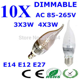 Wholesale E14 Led Warm Candel - Wholesale-10PCS AC85~265V DIMMABLE E14 E27 E12 3x3W 9W 4X3W 12W Warm Pure Cool White LED Candel Light LED bulb lamp LED Free Shipping