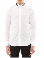 hacer camisetas personalizadas gratis al por mayor-Venta al por mayor-Nueva moda de los hombres de algodón blanco camisa de vestir de manga larga Negro Star Trim Collar por encargo envío gratuito MSH002