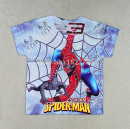 Wholesale Spiderman Shirts For Girls - Wholesale-Kids Boys Baby Girls Spiderman Hero T-shirt short Sleeve kids Tops 100%cotton children's Clothes For Summer