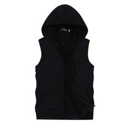 Canada Gros-2015 Hommes Sans Manches Hoodies Sweatshirts Été Style Casual Capuche Cardigan Sport Veste Hommes Manteau 5 Couleurs Grande Taille 3XL 4XL cheap sleeveless men s hoodie Offre