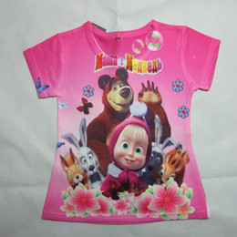 Wholesale Spring Clothes Arrival For Kids - Wholesale-New Arrival masha and the bear Boys and girls T-shirt boys nova top t-shirt for kids baby summer cartoon children clothing