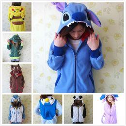 Wholesale Rilakkuma Fleece - Wholesale-Kawaii Cartoon Anime Animal Pikachu Panda Pink Stitch Umbreon Rilakkuma Bear Women Men Hoodie Jacket Cosplay Couple Hoody Fleece