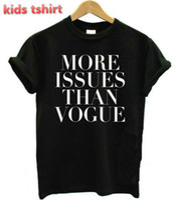 camisas casuais pretas para meninos venda por atacado-Atacado-New Kids camiseta mais edições do que as cartas da Vogue Boy Girl tshirt de algodão Casual crianças preto branco Hipster Top Tees ZT205-964