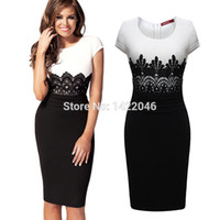 Wholesale Sexy Crochet Dresses For Women - Wholesale-Women's Sexy Slim Summer Short Cocktail Dresses For Women Vintage Crochet Lace Squared Neck Bodycon Pencil Black Dress WDRo129