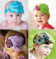 Wholesale Top Baby Hat Band - Wholesale-Top Selling Baby Hats  Toddle Head Band fashion design Baby dedicated feather flower modelling of diamond hair band