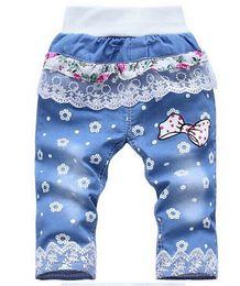 Denim Kids Pant Canada - Wholesale-kids jeans fantasia infantil Girls lace bow pattern five minutes of pants summer denim breeches designer kz77