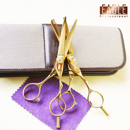 Wholesale Cheap Hair Buys - Wholesale-Super cheap Wholesale buy 5 pcs get 1 gold titanium 5.5 inch hair professional thinning scissors and cutting scissors set