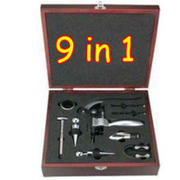 New atacado Em Box 9 em 1 Kit de luxe Corkscrew Wine Opener / Shipping Set EMS