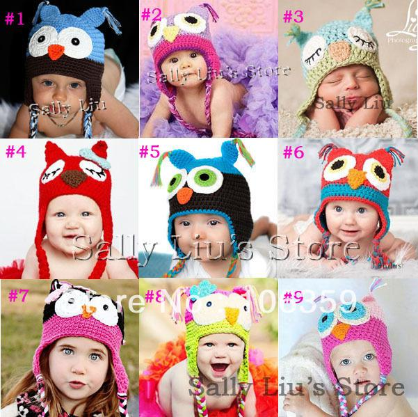 2018 Wholesale Crochet Pattern Baby Hat Handmade Knitted Toddler Owl ...