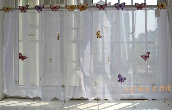 2c776e88f5 All'ingrosso-piccola farfalla pura tenda bianca tende della cucina mantovana  finestra 3 dimensioni