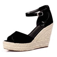 Wholesale Espadrille Sandals - Wholesale-2015 Summer Shoes Espadrilles Wedge Sandals Women Shoes Open Toe Platform Bohemia Beach Sandals For Women Size 32-43