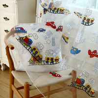Sheer Curtains blackout curtains for baby room - Cartoon curtain yarn trains design window screening sheer for baby room kids room