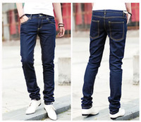 Wholesale Drop SHIPPING mens slim fit casual pants Fashion jeans mens straight leisure pencil trousers X