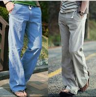 ingrosso pantaloni casual del cotone della biancheria del mens-Pantaloni di lino all'ingrosso-Mens Nuovo modo di estate di colore solido casuale in cotone sciolto e pantaloni di lino per gli uomini più grandi dimensioni M-3XL 5 colori