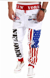 Wholesale Cutting Letter - Wholesale-Alisister fashion men women's joggers pants skinny sweatpants hip hop jogging trousers 4 color Flag letters print sweat pants