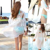 Wholesale Sexy Transparent Body Suits - Wholesale-Sexy Women 'S Fashion Transparent Summer Dress, Saidas De Praia Bikini Swim Sexy Beach Dress Cover-Ups SV20 SV003940