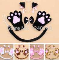 Wholesale Maid Set - Wholesale-anime Neko cosplay costume accessory Cat Neko Ears set maid lolita plush glove paw ear tail cat ears clip set free shipping