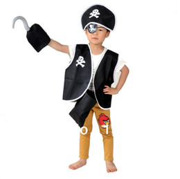 clothing for pirates Promo Codes - Wholesale-Pirate clothes for child kids 5pcs a set Halloween costume masquerade children's day fancy dress