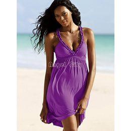 Wholesale Mini Swimsuit Sexy Men - Wholesale-Promotion Swimwear Strap Swimsuit bikini Cover Up Beach Dress Sexy Fashion Solid Ladies V-neck Mini Cotton Female 34