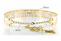 Wholesale Corset Metal - Wholesale-Free Shipping Designer Belts Fashion 2016 Metal Keeper Metallic Bling Gold Hollow Out Flower 4cm Wide Obi Belt Corset