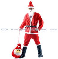 pai natal trajes venda por atacado-Atacado-1set Papai Noel Traje de Natal Roupas Adulto Mochila Pai Natal Terno X'mas Roupas sem Botas e saco Frete grátis