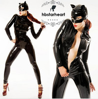 Wholesale Womens Xxl Clothing - Wholesale-2015 New Adult Womens Sexy Black Halloween Party Catwoman Costumes Outfit Fancy Cosplay One Piece Clothes With Mask Size S-XXL