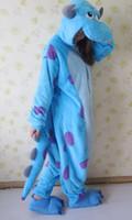 Wholesale Angels Pajamas - Wholesale-Anime Animal Sulley Inc. Cos Pajamas Adult Onesie Winter Warm Fleece Jumpsuit Cosplay Halloween Party Costumes