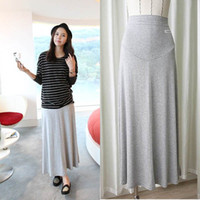 Wholesale Pregnant Women Maxi - Wholesale-Pregnant Women Maternity Elastic Skirt Medium Gray Cotton Long Maxi Soft Skirts For Free Shipping