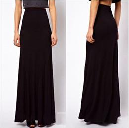 Wholesale Cheap Chiffon Maxi Skirts - Wholesale-Cheap price High quality Fashion Womens Black Color High Waist Elastic Waist Chiffon Full Long Maxi Skirts