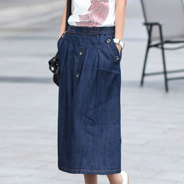 Discount Line Denim Midi Skirt | 2017 Line Denim Midi Skirt on ...