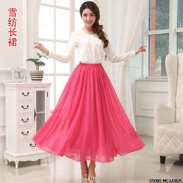 Wholesale Robes Plage - Wholesale-Summer Half-Length Long Skirt 2015 Chiffon Tulle Skirts Saias Femininas Floor-Length Pleated Skirts robe de plage Free Shipping