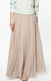 Wholesale Look Woman - Wholesale-summer women skirt Elegant Pleated Long Skirt Slim Look Chiffon Maxi Dinner Party