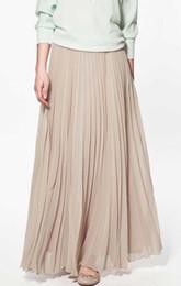 Wholesale Long Floor Length Maxi Skirt - Wholesale-summer women skirt Elegant Pleated Long Skirt Slim Look Chiffon Maxi Dinner Party