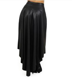 Wholesale Gothic Long Skirts Women - Wholesale-Women Plus Size Faux Leather Gothic Long Asymmetrical Skirt Vintage High-waist Pleated Maxi Long Skirt saia longa femininas