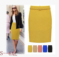 Wholesale Skirt Color Candy Women - Wholesale-Fashion Candy Color Skirt Women High Waist Business OL Pencil Skirts