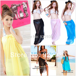 Wholesale Pink Pareo Wrap - Wholesale-Hot New Fashion Girl Summer Solid Color Sexy Pareo Dresses Sarong Bikini Cover-Ups Scarf Wrap Swim swimwear Beach Free Shipping