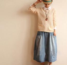 Wholesale Denim Skirts For Women - Wholesale-New Spring Female Skirts Mid-Waist Button Pocket Decorative Patchwork Jeans Skirt Casual Mid-Calf Denim Skirt For Women